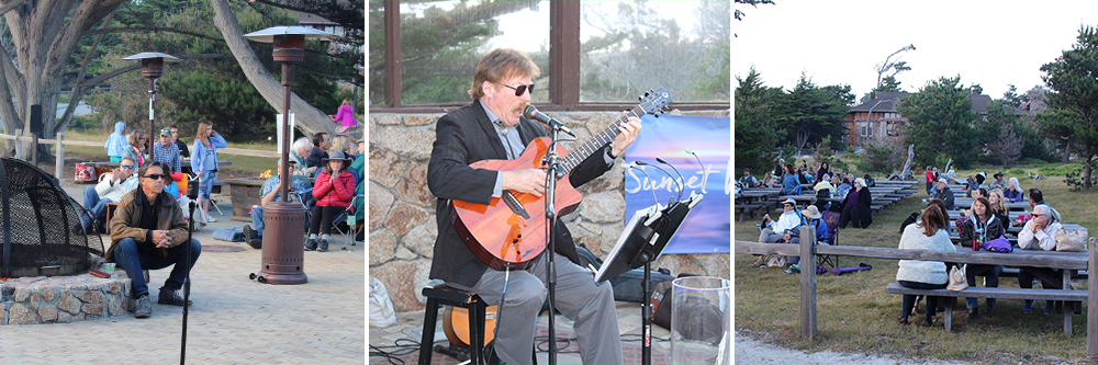 musician playing guitar to guests as sunset music series