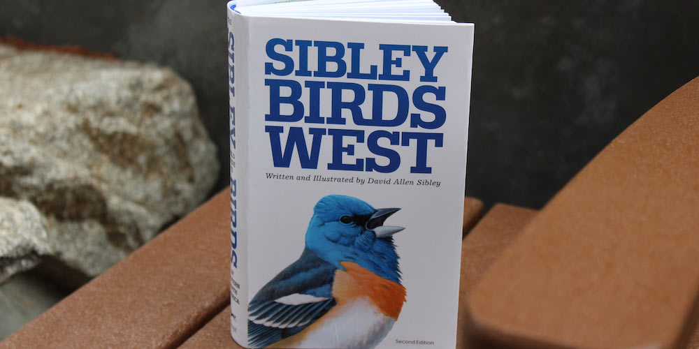 Sibley Birds West book open on bench